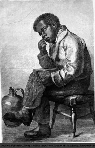 Young African American boy holding a slate and thinking_jpg